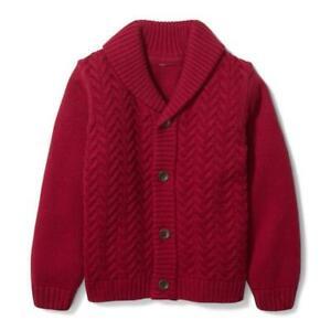 JANIE and JACK Boy Winter Red Textured Shawl Cardigan NWT - Sz. 10 #100036250