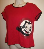 Women's Cute Felix The Cat Red Black White Summer Fun Shirt Top Size M