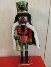 African American Christmas Nutcracker Ethnic Black Royal King GREEN Robe Santa