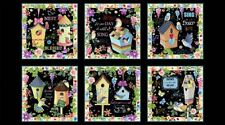 "Bird House Garden Ladybug Flowers Scenes Cotton Fabric QT Blessed 24""X44"" Panel"
