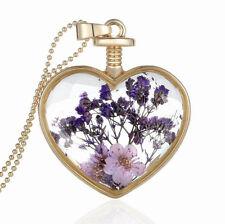 Romantic Heart Purple Dried Flowers Perfume Bottle Pendant Necklace N382
