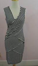 Calvin Klein Black and White Striped Bodycon Stretch Dress Size 4