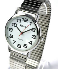 Mens NEW BIG NUMBER Silver Tone Expandable Expander Stretch Bracelet Watch