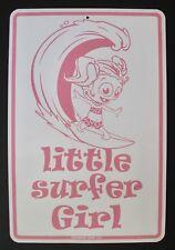 Little Surfer Girl Tin Metal Sign Pink Surfing Surfboard Girls Bedroom Decor
