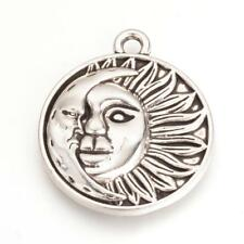 2 Large Sun Pendants Antiqued Silver Sun and Moon Celestial Charms 29mm
