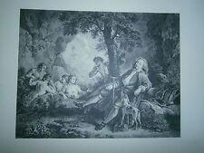 Planche gravure Portrait d'Antoine de la Roque d'après Watteau