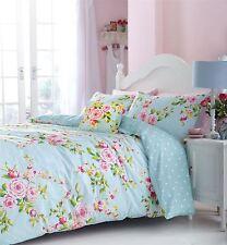 rose bleue imprimé floral Mélange de coton Housse couette double Coussin SET