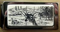 Money Clip Barlow Scrimshaw Carved Painted Deer Portrait Hinged Silver 526696