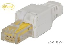 5Pack Toolless CAT6 RJ45 Modular Plug, no need for a crimping tool, T6-101-5