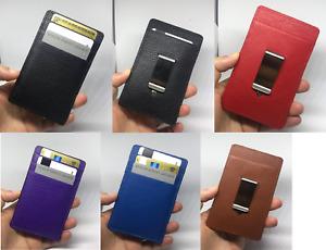 Money Clip Genuine Real Leather Travel Credit Card Holder Wallet Black Brown Men