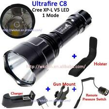 1 Mode Cree XP-L V5 LED Hunt Flashlight+Charger+Gun Mount+Holster+Remote Switch