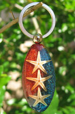 65mm 1.1OZ Natural Starfish Clear Lucite Paperweight KEY RING