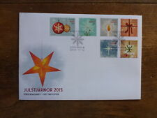 SWEDEN 2015 CHRISTMAS SET 6 STAMPS FDC FIRST DAY COVER