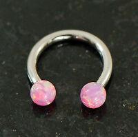 """1 Pc 16g 5/16"""" Pink Opal Ball Horseshoe Internal Threaded Lip SeptumTragus"""