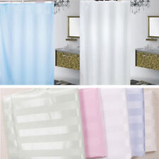 Shower Curtain With Hooks High Grade Striped Pattern Fabric Waterproof Bathroom