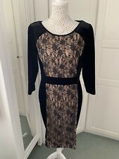 Stunning Trinny & Susannah Black & Nude Velvet And Lace Dress. Size 12 New