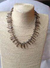 Handmade Long Genuine Gemstone Chip Shard Beaded Necklace Smoky Quartz