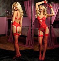 Women's Sexy Lingerie Red Lace Dress+G string+Handcuff+Garter Belt+Stocking 0F6