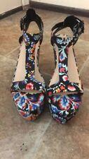 LOEFFLER RANDALL MINETTE Womens Minette Wedge Sandal- Size 9.5 US Dark Floral