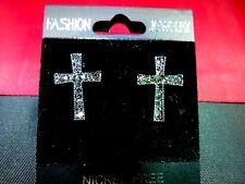 Silver Cross Earrings Fashion Jewellery =-UK SELLER-=