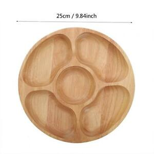 Wooden Round Shape Food Divided Plate Dessert Snack Sub-grid Dish Tableware T Sp