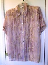 Borcellini. Multi colored semi-sheer short sleeve shirt size might be 1x-2x
