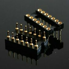 2pcs new 14 PIN 2 X 7 Pin GOLD DIP IC SOCKET PANEL 2.54MM PITCH ADAPTER SWAP