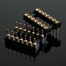 2pcs new 14 PIN 2 X 7 Pin GOLD DIP IC SOCKET PANEL 2.54MM PITCH ADAPTER SWAP