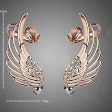 Women Rhinestone Clip Earrings For Women Angel Wing Gold Earring Ear Cuff Pop