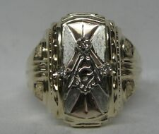 10K SOLID TRI COLOR GOLD  DIAMOND MASONIC SOLID BACK RING
