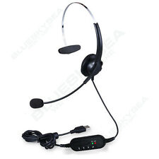 Call Center Headset Stereo Surround Headband Headphone USB Mic for PC Table