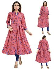 Women Indian Pink Kurti Floral Printed A-Line Top Tunic Kurta Shirt Dress SC2475