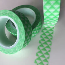 WASHI TAPE LIME TRIANGLES 15MM X 10MTR ROLL PLAN CRAFT SCRAP WRAP