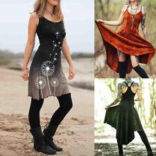 Women Vintage Gothic Dress Sleeveless Retro Printed Tribal Slim Dress Plus Size
