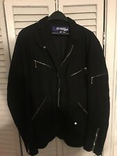 JUNYA WATANABE COMME DES GARCONS Men's Wool Striped Motorcycle Black Jacket Sz:L