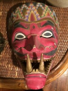 A Hand-Painted and Hand-Carved Indonesian Festival Face Mask
