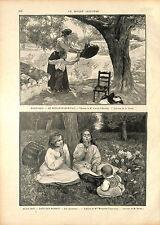 Joaquín Sorolla y Bastida SPAIN / Madeleine Carpentier OLD ANTIQUE PRINT 1896