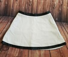 BANANA REPUBLIC white skirt with Leather Trim MINI 6P -a12