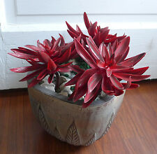3 Red Big Snow Lotus Plastic Artificial Grass unkillable Succulents Plants