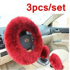 3pcs Long Plush Warm Winter Steering Wheel Cover Woolen Handbrake Car Accessory