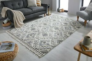 ARIA VICTORIA STYLISH GREY CREAM HAND TUFTED SOFT SMALL LARGE RUG WITH TASSELS