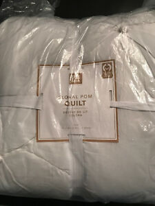 Pottery Barn Teen Floral Pom Twin Quilt White NEW
