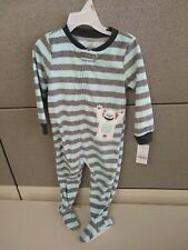 Carter's Yeti Abominable Snowman Striped Fleece Footed Pajama Sleeper 2T New Tag