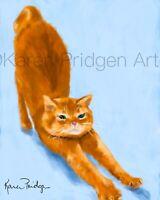 ACEO ATC Art Card Painting Print Signed Orange Tabby Cat Cats Kitten Pet Animal