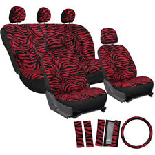 Car Seat Covers Red 17pc for Auto Zebra Tiger Animal Print Steering Wheel
