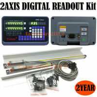 2Axis Digital Readout +2pc Linear Scale DRO Display w/ Glass Sensor Encoder Kit