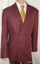 ALBA Bespoke Suit Mens 46 XL Burgundy Linen Double Breasted Magic Johnson 42W