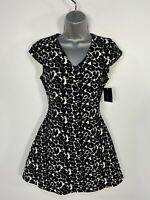 BNWT WOMENS ZARA SMALL BLACK MIX PATTERNED CAP SLEEVE FITTED FLARE PARTY DRESS
