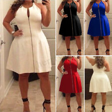 UK Plus Size Womens Summer V Neck Bodycon Front Zip Cocktail Ladies Party Dress