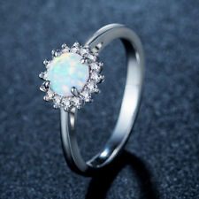 Newest Fire Round Cubic Zirconia Blue White Fire Opal Gemstone Rings Size 5-10